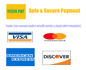 Tesfa pay accepts credit cards online - TesfaPay.com